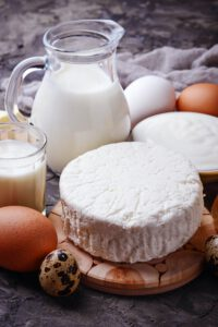 Milk, cottage cheese, sour cream, butter, eggs